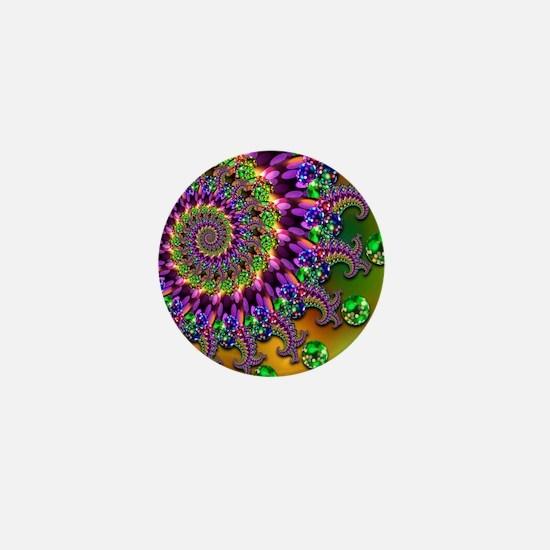 Green Purple Fractal Pattern Mini Button