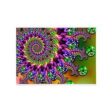 Green Purple Fractal Pattern 5'x7'Area Rug