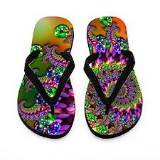 Green Purple Fractal Pattern Flip Flops