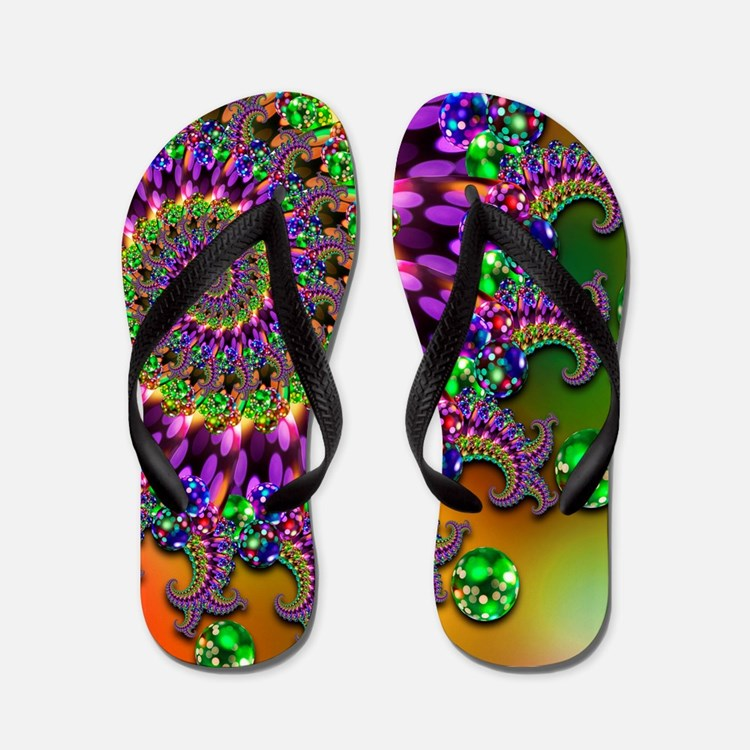 Green Purple Fractal Pattern Flip Flops