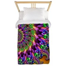 Green Purple Fractal Pattern Twin Duvet
