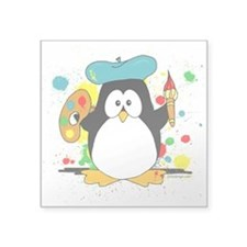 "Artistic Penguin Square Sticker 3"" x 3"""
