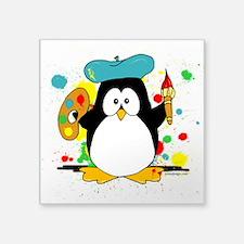 """Artistic Penguin Square Sticker 3"""" x 3"""""""
