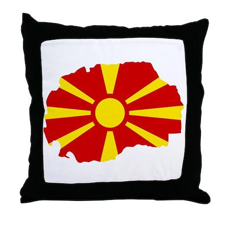 Macedonia map flag Throw Pillow