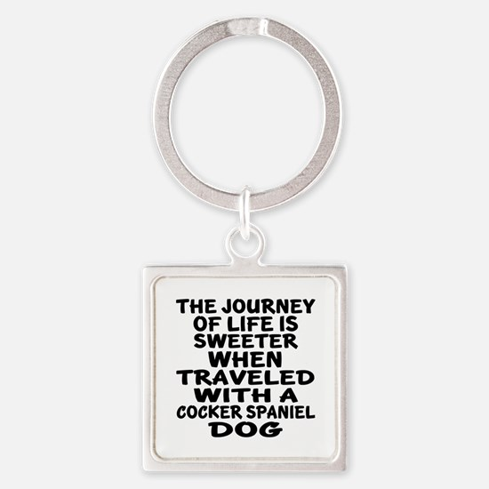Traveled With Cocker Spaniel Dog D Square Keychain