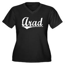 Arad, Vintage Women's Plus Size V-Neck Dark T-Shir