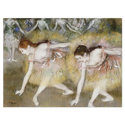 Dancers Bending Down (oil on canvas) Poster