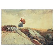 Down the Cliff, 1883 (w/c, gouache and pencil on p Poster