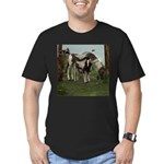 Painted Horse and Foal Men's Fitted T-Shirt (dark)