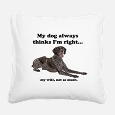 Pointer v Wife Square Canvas Pillow