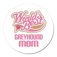 Greyhound Mom Round Car Magnet