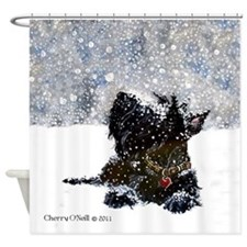 Scottish Terrier Christmas Shower Curtain
