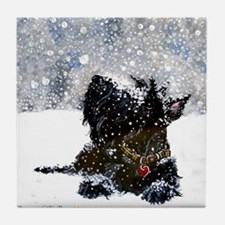 Scottish Terrier Christmas Tile Coaster