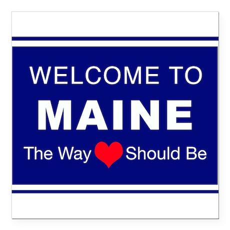 "Maine Love Square Car Magnet 3"" x 3"""