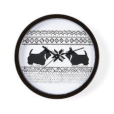 Scottish Terrier Reindeer Sweater.png Wall Clock