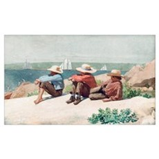 Watching the Ships, Gloucester, 1875 (w/c Poster