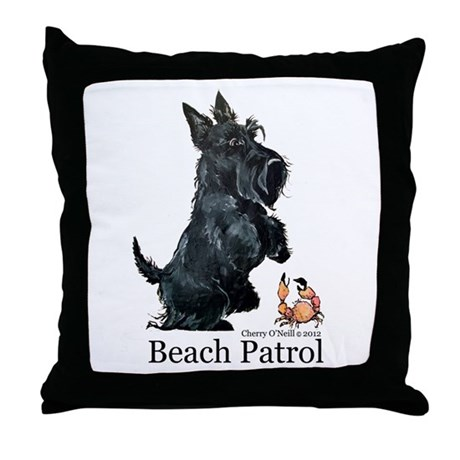 Scottish Terrier Beach Patrol Throw Pillow