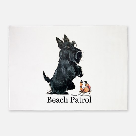 Scottish Terrier Beach Patrol 5'x7'Area Rug