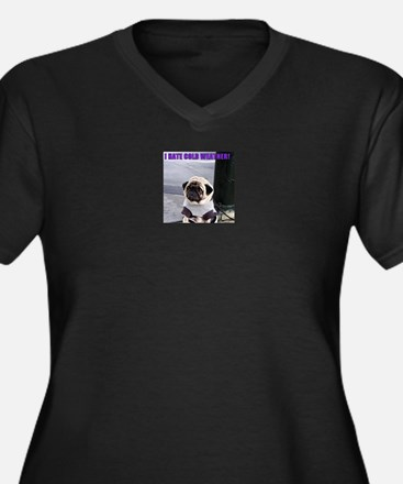 PUGS HATE COLD WEATHER Women's Plus Size V-Neck Da