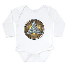 Norse Valknut - Yellow Long Sleeve Infant Bodysuit