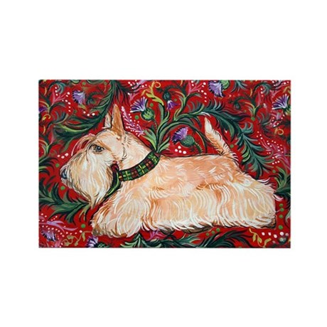 Wheaten Scottish Terrier on Red Rectangle Magnet (