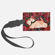 Wheaten Scottish Terrier on Red Luggage Tag