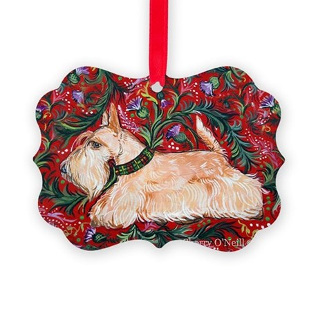 Wheaten Scottish Terrier on Red Picture Ornament