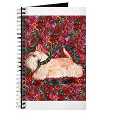 Wheaten Scottish Terrier on Red Journal