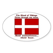 Danish Viking & Beer Oval Decal