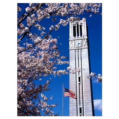 NC State University Photographs Bell Tower in Spri Poster