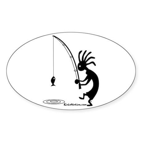 Kokopelli Fisherman Oval Sticker