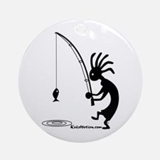 Kokopelli Fisherman Ornament (Round)