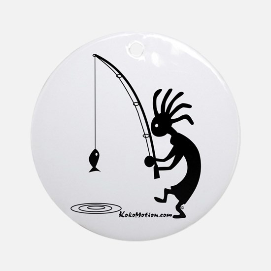 Kokopelli Fisherman Ornament (Round)
