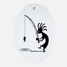 Kokopelli Fisherman Oval Ornament