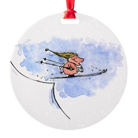 Flying Pig Round Ornament