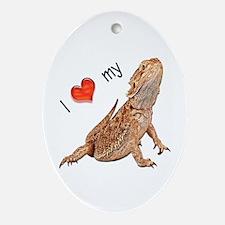 I luv my Bearded Dragon Oval Ornament