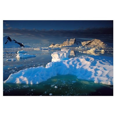 Evening light on ice floes and peaks in Paradise B Canvas Art