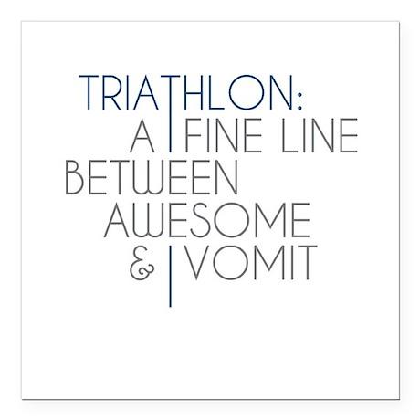 "Triathlon Awesome Vomit Square Car Magnet 3"" x 3"""
