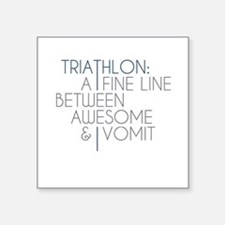 "Triathlon Awesome Vomit Square Sticker 3"" x 3"""