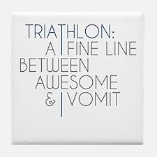 Triathlon Awesome Vomit Tile Coaster