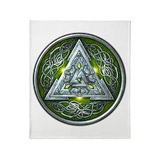 Norse Valknut - Green Throw Blanket