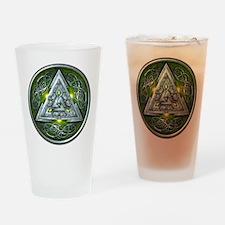 Norse Valknut - Green Drinking Glass