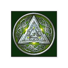 """Norse Valknut - Green Square Sticker 3"""" x 3&q"""