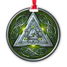 Norse Valknut - Green Ornament