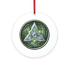 Norse Valknut - Green Ornament (Round)