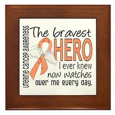 Bravest Hero I Knew Uterine Cancer Framed Tile