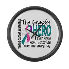 Bravest Hero I Knew Thyroid Cancer Large Wall Cloc