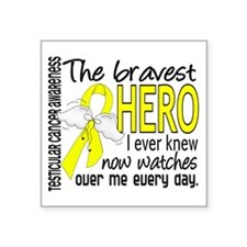 Bravest Hero I Knew Testicular Cancer Square Stick