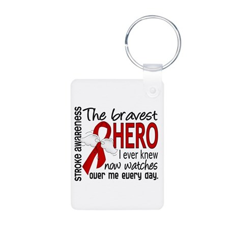 Bravest Hero I Knew Stroke Aluminum Photo Keychain