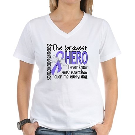Bravest Hero I Knew Stomach Cancer Women's V-Neck